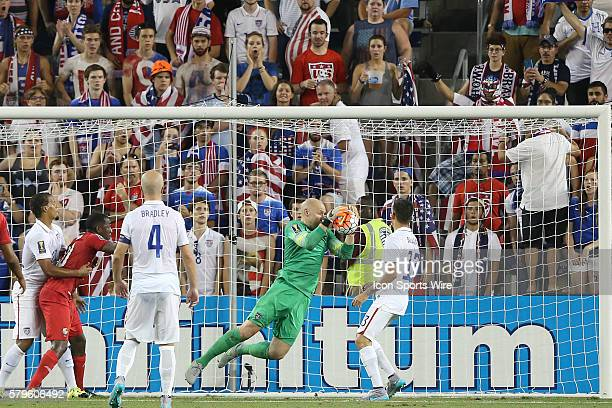 Brad Guzan makes a save The United States Men's National Team played the Panama Men's National Team at Sporting Park in Kansas City Kansas in a 2015...
