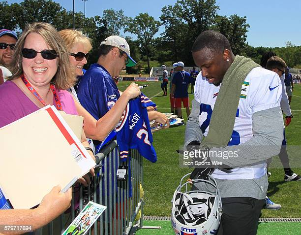 Buffalo Bills running back LeSean McCoy signs autographs for fans during the Buffalo Bills Training Camp at St John Fisher College in Pittsford New...