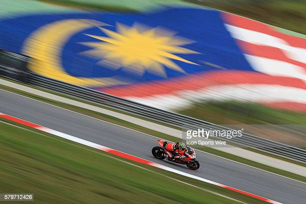 Chaz Davies of Aruba.it Racing???Ducati SBK Team in action during friday's free practice session of the FIM Superbike World Championship - Malaysia...