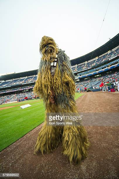Chewbacca from the Star Wars 501st Legion take over Star Wars night at Turner Filed before a regular season game between the Philadelphia Phillies...