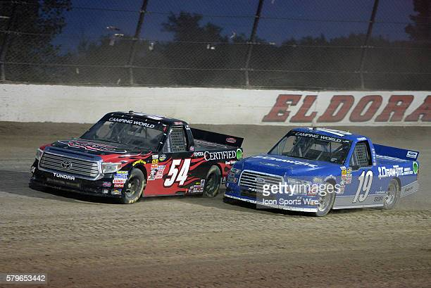 22 July 2015 | Christopher Bell Toyota Certified Used Vehicles Toyota Tundra and Tyler Reddick Draw Tite Ford F150 battle for position during the...