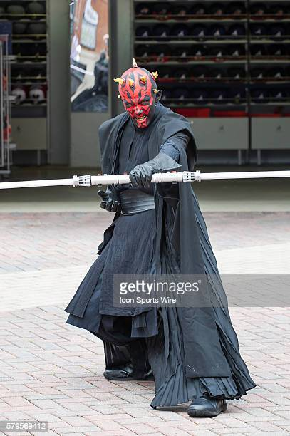 Darth Maul from the Star Wars 501st Legion take over Star Wars night at Turner Filed before a regular season game between the Philadelphia Phillies...