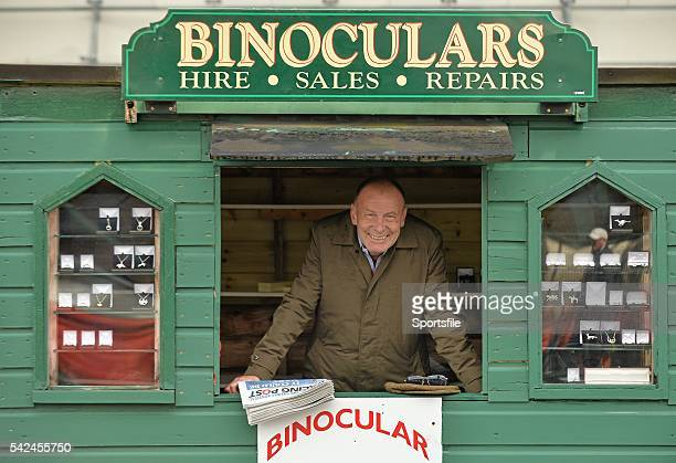 28 July 2015 Goldsmith George Bryan of Dalkey Co Dublin sells his jewelry and rents binoculars at the races like he has for 28 years Galway Racing...