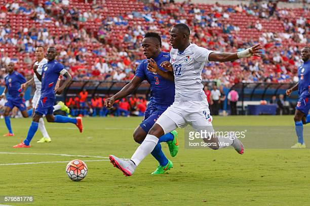 Haiti defender Mechack Jerome and Panama forward Abdiel Arroyo chase a loose ball during CONCACAF Group A Gold Cup match between Panama and Haiti...