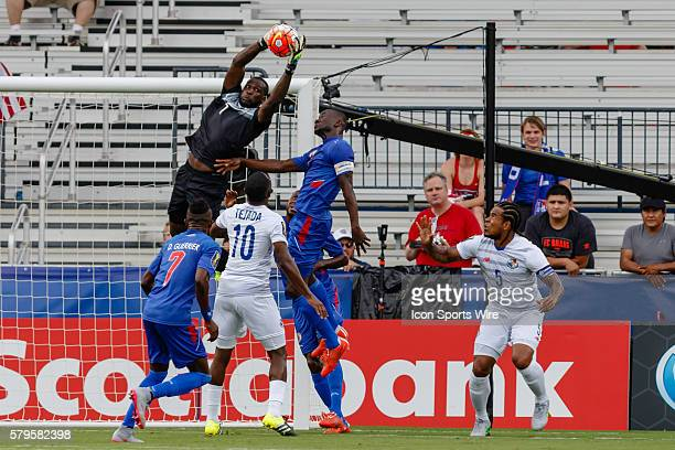 Haiti goalkeeper Johny Placide leaps to make a save during CONCACAF Group A Gold Cup match between Panama and Haiti played at Toyota Stadium in...