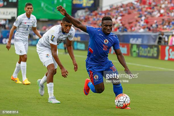 Haiti midfielder Jeff Louis during CONCACAF Group A Gold Cup match between Panama and Haiti played at Toyota Stadium in Frisco TX Panama and Haiti...