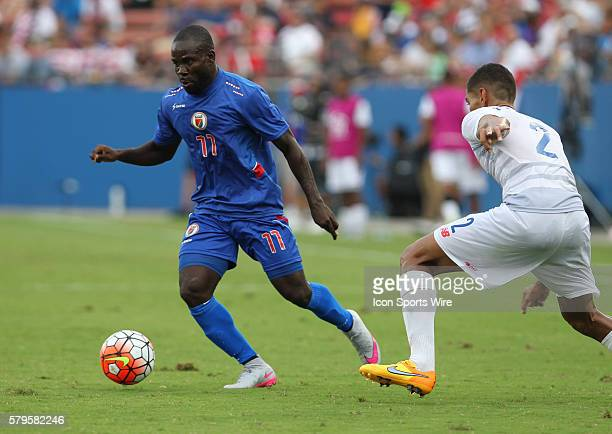 Haiti midfielder Pascal Millen during the Gold Cup Group Stage match between Panama and Haiti at Toyota Stadium in Frisco Texas The game ended in a...