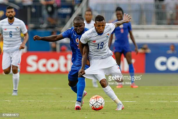 Haiti midfielder Pascal Millien and Panama midfielder Alberto Quintero battle for a loose ball during CONCACAF Group A Gold Cup match between Panama...