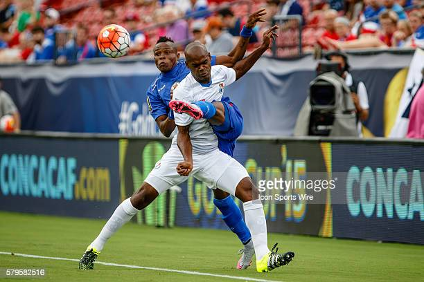 Haiti midfielder WildeDonald Guerrier and Panama defender Adolfo Machado battle during CONCACAF Group A Gold Cup match between Panama and Haiti...
