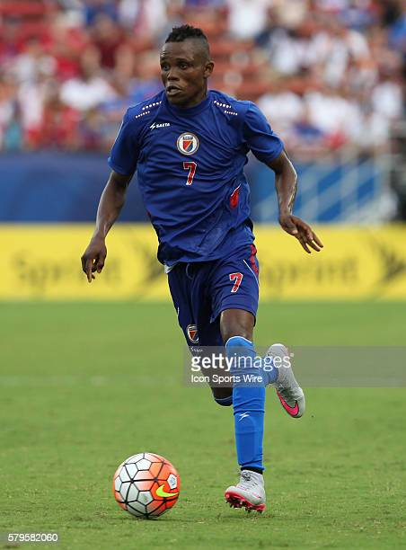 Haiti midfielder WildeDonald Guerrier during the Gold Cup Group Stage match between Panama and Haiti at Toyota Stadium in Frisco Texas The game ended...