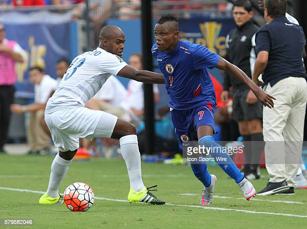 Haiti midfielder WildeDonald Guerrier makes a move around Panama defender Adolfo Machado during the Gold Cup Group Stage match between Panama and...