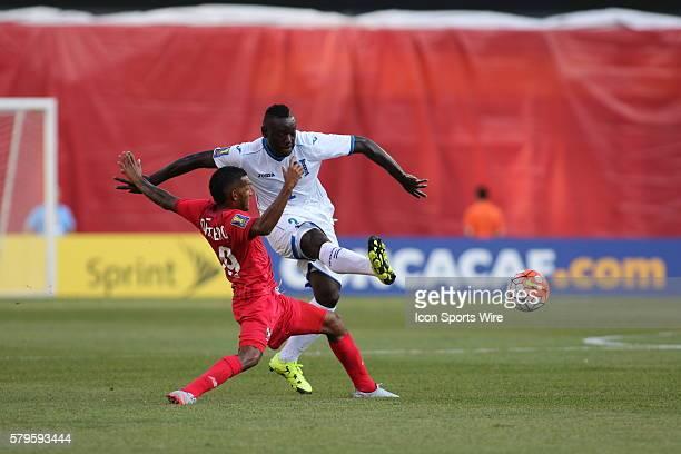 Honduras defender Wilmer Crisanto moves the ball past Panama midfielder Alberto Quintero during the Panama game against Honduras The Men's National...