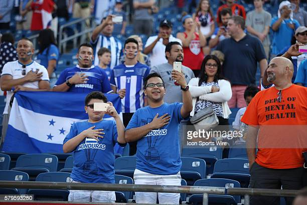 Honduras fans salute during their national anthem The Men's National Team of Honduras and the Men's National Team of Panama drew 11 in a CONCACAF...