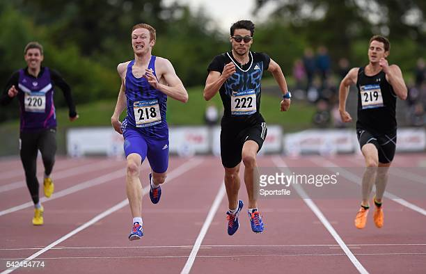 24 July 2015 Jarryd Dunn Great Britain on his way to winning the Loki Sports International Men's 400m event from second place Brian Gregan Ireland...