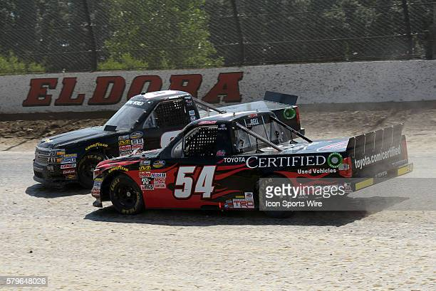 22 July 2015 | John Hunter Nemecheck Chevrolet Silverado spins in front of Christopher Bell Toyota Certified Used Vehicles Toyota Tundra during...