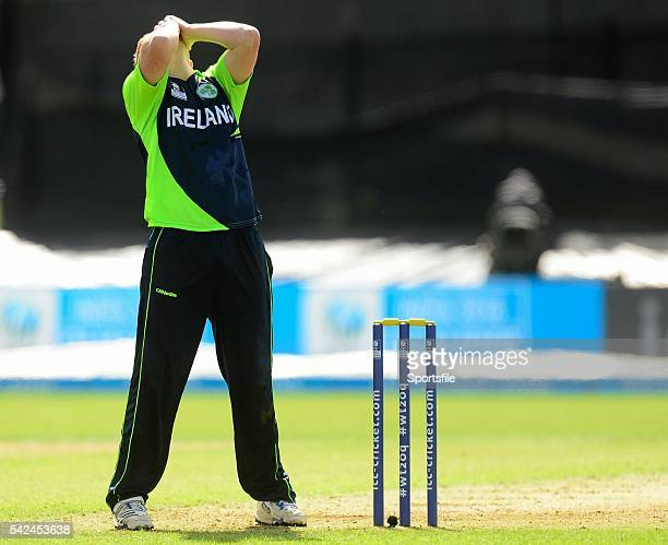 19 July 2015 Kevin O'Brien Ireland reacts during the game ICC World Twenty20 Qualifier 2015 Ireland v Jersey Malahide Dublin Picture credit Piaras O...