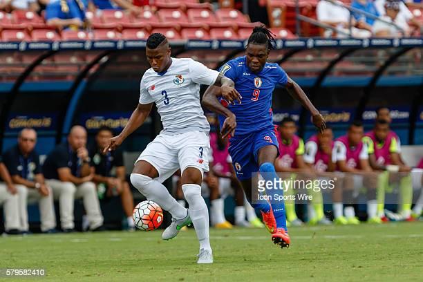 Panama defender Harold Cummings and Haiti forward Kervens Belfort during CONCACAF Group A Gold Cup match between Panama and Haiti played at Toyota...