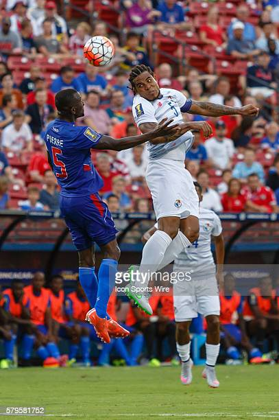 Panama defender Roman Torres heads the ball over Haiti defender Jean Jacques Pierre during CONCACAF Group A Gold Cup match between Panama and Haiti...