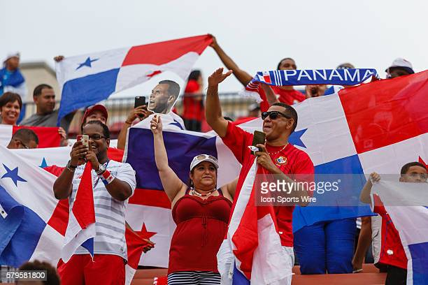 Panama fans cheer on their national team during CONCACAF Group A Gold Cup match between Panama and Haiti played at Toyota Stadium in Frisco TX Panama...