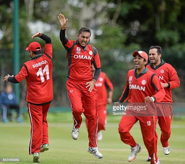 25 July 2015 Rajeshkumar Ranpura Oman celebrates a wicket with teammates ICC World Twenty20 Qualifier 2015 5th/6th PlayOff Afghanistan v Oman...