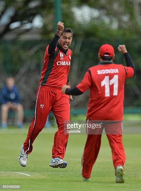 25 July 2015 Rajeshkumar Ranpura Oman celebrates a wicket with Zeehan Siddiqui ICC World Twenty20 Qualifier 2015 5th/6th PlayOff Afghanistan v Oman...