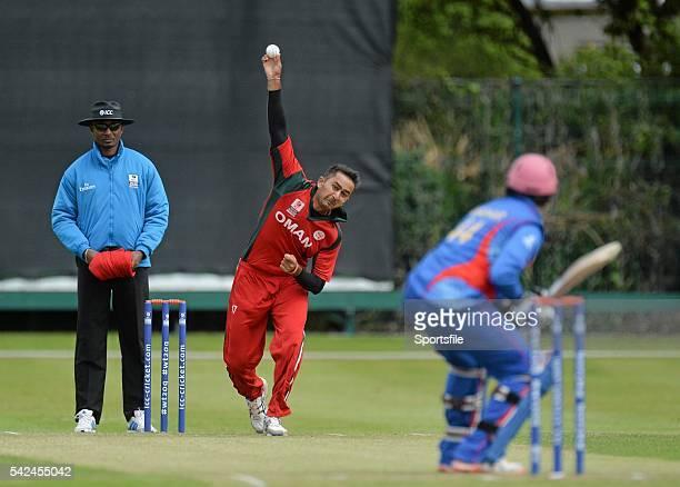 25 July 2015 Rajeshkumar Ranpura Oman in action against Asghar Stanikzai ICC World Twenty20 Qualifier 2015 5th/6th PlayOff Afghanistan v Oman...