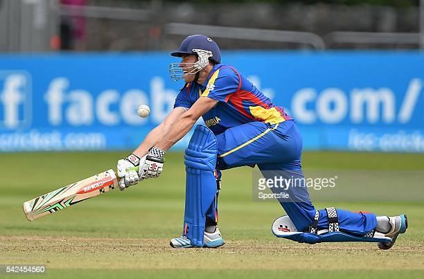 23 July 2015 Raymond Van Schoor Namibia hits a boundary against Rajeshkumar Ranpura Oman ICC World Twenty20 Qualifier 2015 PlayOff 4 Oman v Namibia...