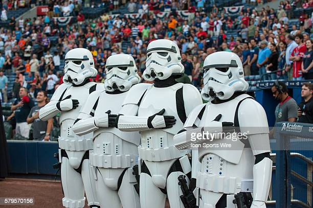 Stormtroopers from the Star Wars 501st Legion take stand for the National Anthem as the members before a regular season game between the Philadelphia...