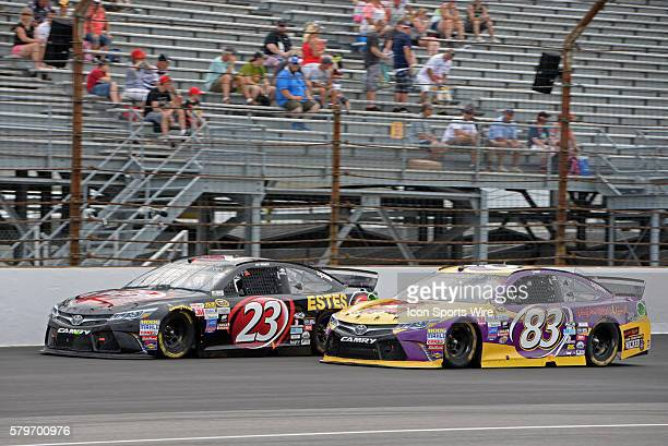 26 July 2015 | Team mates JJ Yeley Dr Pepper Toyota Camry and Matt DiBenedetto VooDoo BBQ Grill Toyota Camry race sidebyside during the NASCAR Sprint...