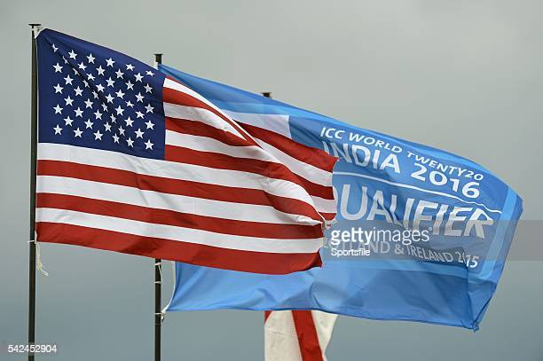 15 July 2015 The USA flag flying along side the ICC World Twenty20 Qualifier flag ICC World Twenty20 Qualifier 2015 USA v Jersey Bready Co Tyrone...