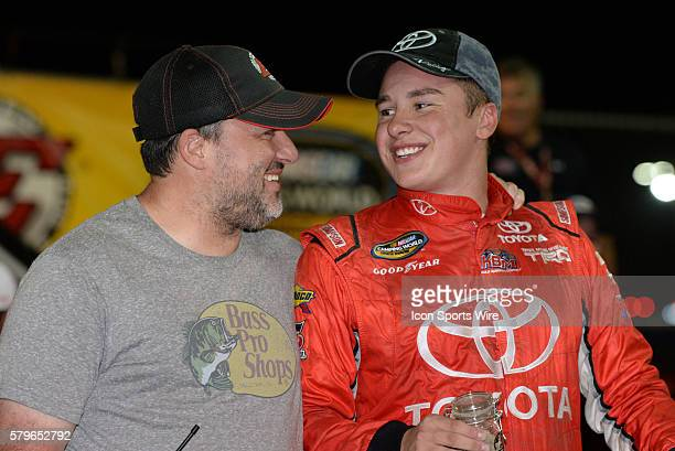 22 July 2015 | Track owner and NASCAR Sprint Cup driver Tony Stewart congradulates Christopher Bell Toyota Certified Used Vehicles Toyota Tundra...