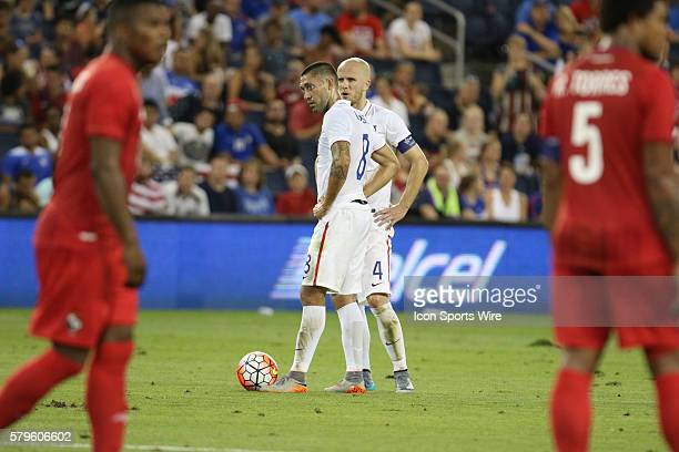 United States forward Clint Dempsey and United States midfielder Michael Bradley during the CONCACAF Gold Cup Group Stage at Sporting Park Kansas...