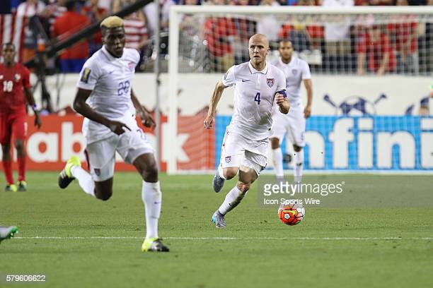 United States midfielder Michael Bradley during the CONCACAF Gold Cup Group Stage at Sporting Park Kansas City KS The United States and Panama...