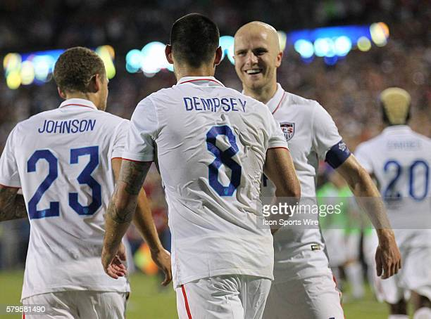 USA forward Clint Dempsey and USA midfielder Michael Bradley and USA defender Fabian Johnson celebrate Dempsey's 2nd goal during the Gold Cup Group...