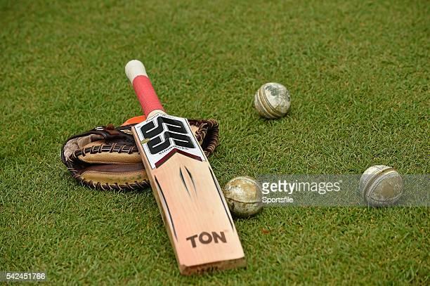 7 July 2015 View of a Cricket Bat and cricket balls ICC World Twenty20 Qualifier 2015 Warmup Match Nepal v United Arab Emirates Stormont Belfast...