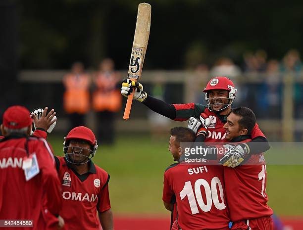 23 July 2015 Zeeshan Maqsood Oman is lifted by teammates Sufyan Mahmood and Rajeshkumar Ranpura after hitting the winning run to defeat Namibia ICC...