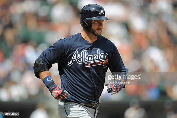 Atlanta Braves catcher AJ Pierzynski runs to first base during a game between the Atlanta Braves and the Chicago White Sox at US Cellular Field in...