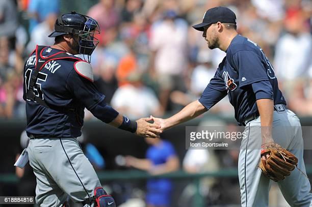 Atlanta Braves relief pitcher Jim Johnson celebrates with Atlanta Braves catcher AJ Pierzynski after their victory over the Chicago White Sox at US...