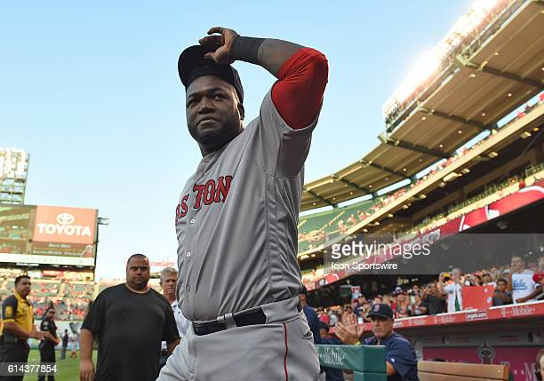 Boston Red Sox Designated hitter David Ortiz [1937] exits the dugout to be honored by the Angels with a gift prior to a Major League Baseball game...