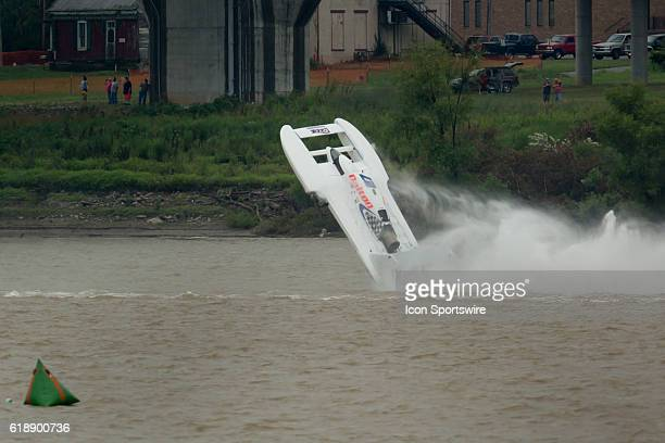 Cal Phipps flippes his H1 Unlimited Hydroplane on Lap 4 of the Madison Regatta's Indiana Governors Cup in Madison IN Phipps survived the crash with...