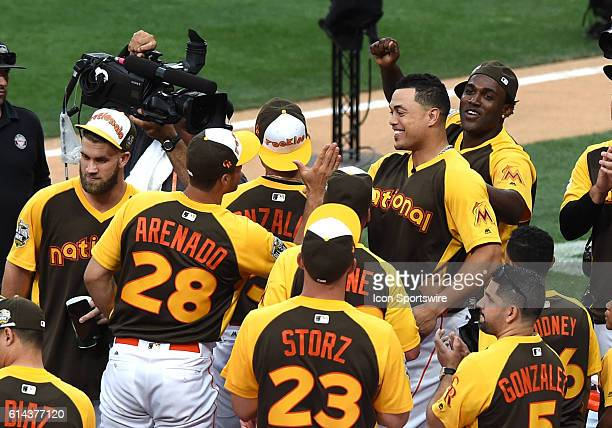 Giancarlo Stanton of the Miami Marlins and the National League celebrates winning the 2016 AllStar Home Run Derby at PETCO Park in San Diego CA