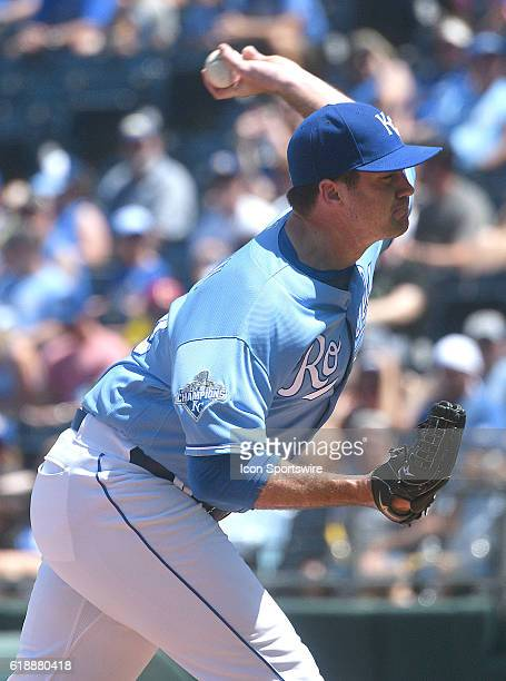 Kansas City Royals' pitcher Brian Flynn during a MLB game between the Seattle Mariners and the Kansas City Royals at Kauffman Stadium in Kansas City...