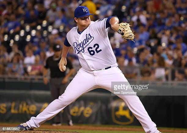 Kansas City Royals relief pitcher Brooks Pounders in the ninth inning of a game between the Seattle Mariners and Kansas City Royals at Kauffman...