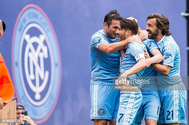 New York City FC midfielder Jack Harrison New York City FC midfielder Frank Lampard New York City FC midfielder Andrea Pirlo celebrate New York City...