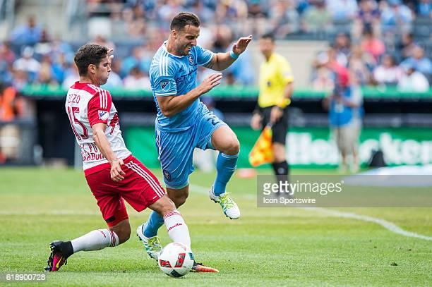 New York Red Bulls midfielder Salvatore Zizzo fouls New York City FC defender RJ Allen during the second half of the MLS match between NY Red bulls...