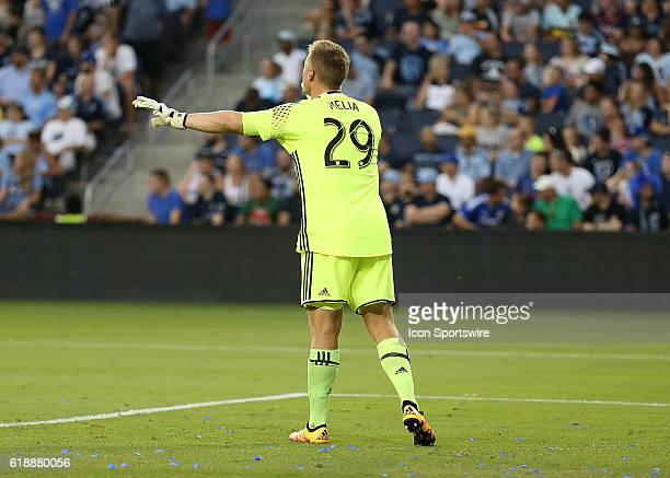Sporting Kansas City goalkeeper Tim Melia calls out the defense in a match between New York City FC and Sporting Kansas City at Children's Mercy Park...