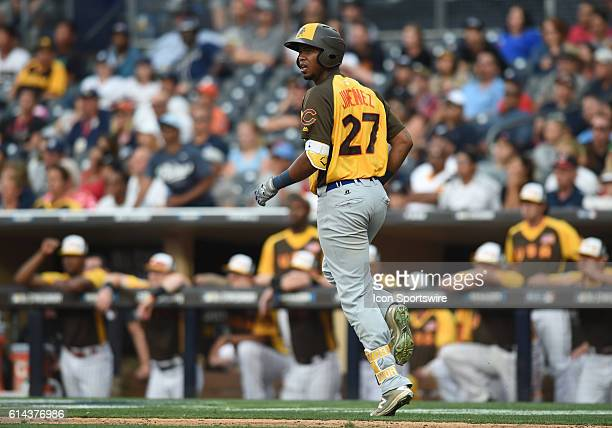 Team World Eloy Jimenez hits a home run during the MLB AllStar Futures Game at PETCO Park in San Diego CA
