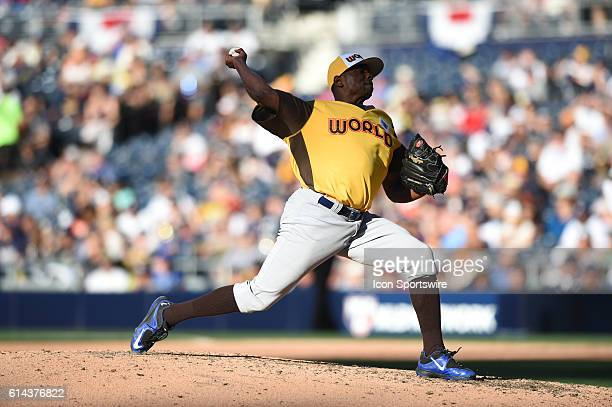 Team World Jharel Cotton during the MLB All-Star Futures Game at PETCO Park in San Diego, CA.
