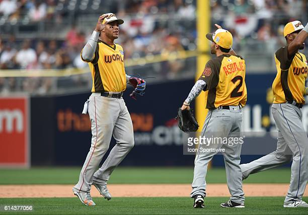 Team World Yoan Moncada celebrates the victory with Team World Carlos Asuaje during the MLB AllStar Futures Game at PETCO Park in San Diego CA