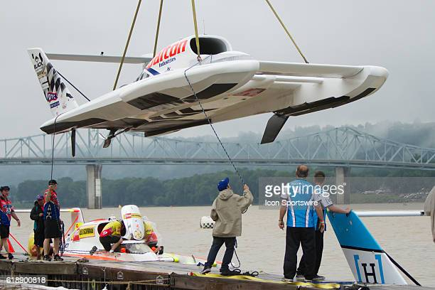 The U27 Dalton Industries boat is lowered into the water by crane just before the Madison Regatta's Indiana Governors Cup H1 Unlimited Hydroplanes...